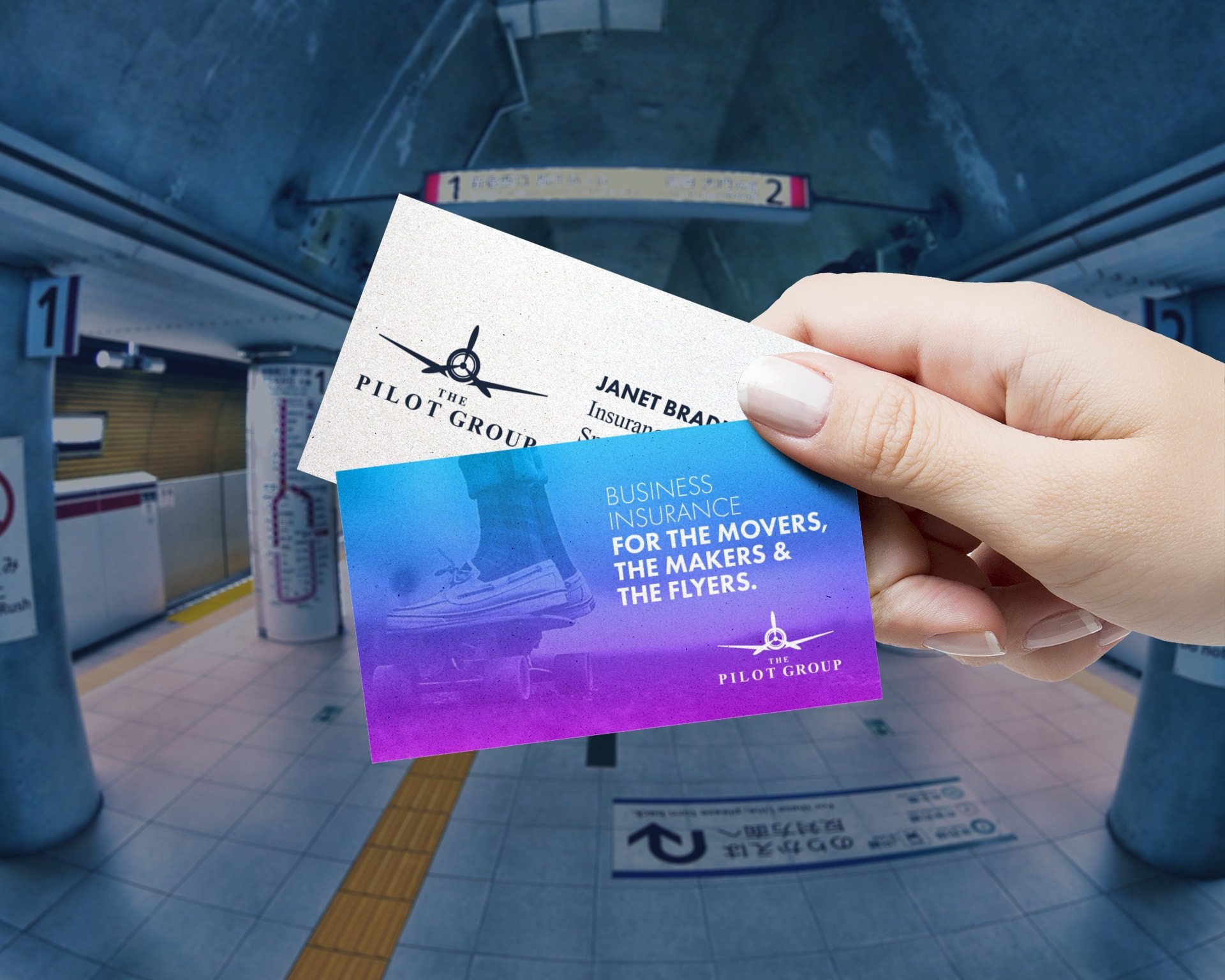 The Pilot Group Business Card design by Chris Nunn, design strategist, in Japanese subway