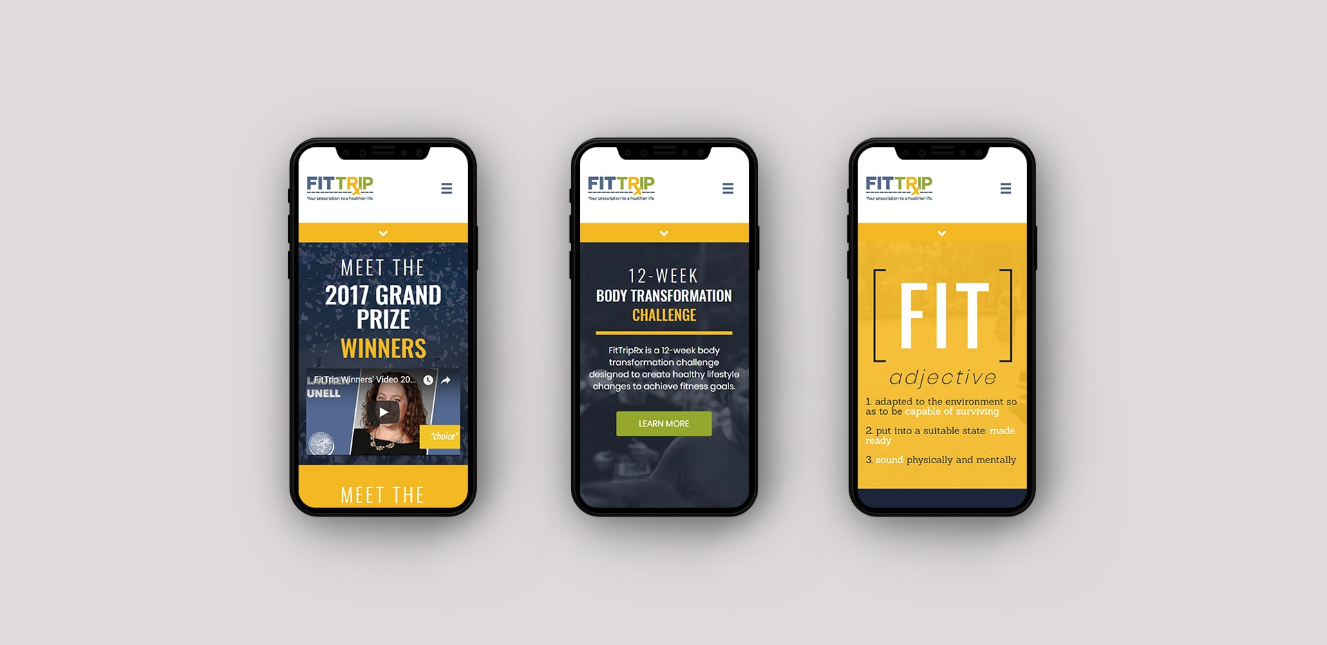 Mobile phone view of FitTripRx website by Chris Nunn, design strategist for Sideways8 Interactive, Atlanta, GA