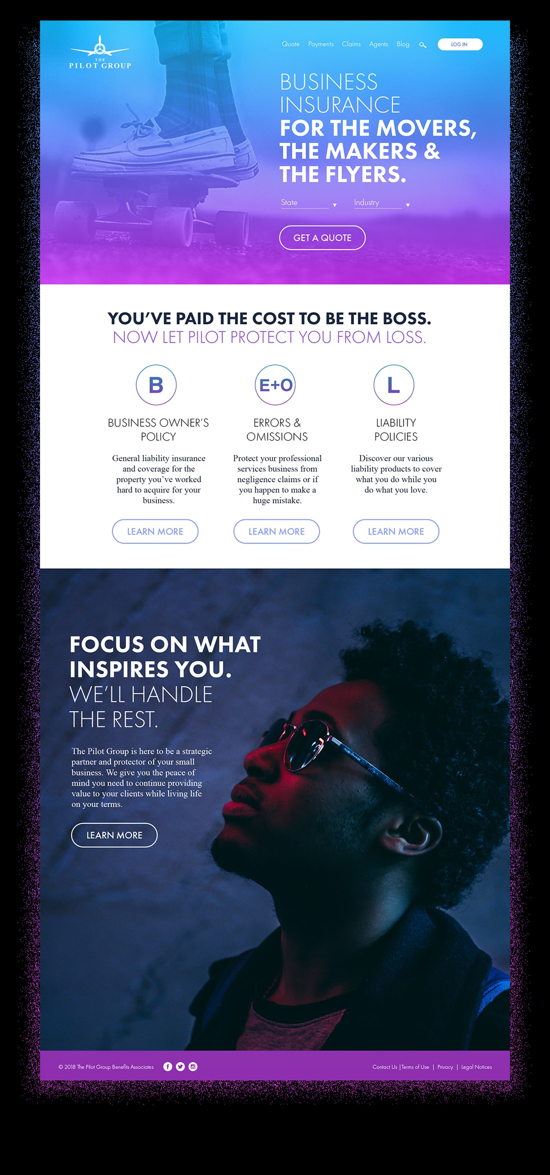 Full home page design of The Pilot Group website by Chris Nunn, Atlanta, Conyers, GA web, brand identity and UX designer